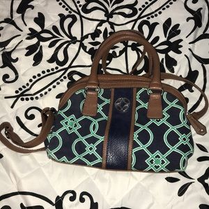 Navy blue and green purse